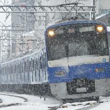 大雪の京成線@2008年2月 4 - 雪中のKEIKYU BLUE SKY TRAIN