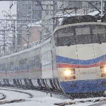 大雪の京成線@2008年2月 2 - 雪中のスカイライナー