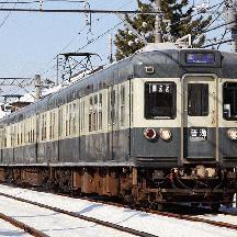 京成3300形 創立100周年リバイバルカラー電車、雪晴れを走る
