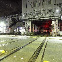京成線 真夜中の京成津田沼駅と津田沼車庫